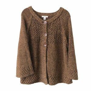 Brown Chunky Knit Long Sleeve Cardigan Sweater XL
